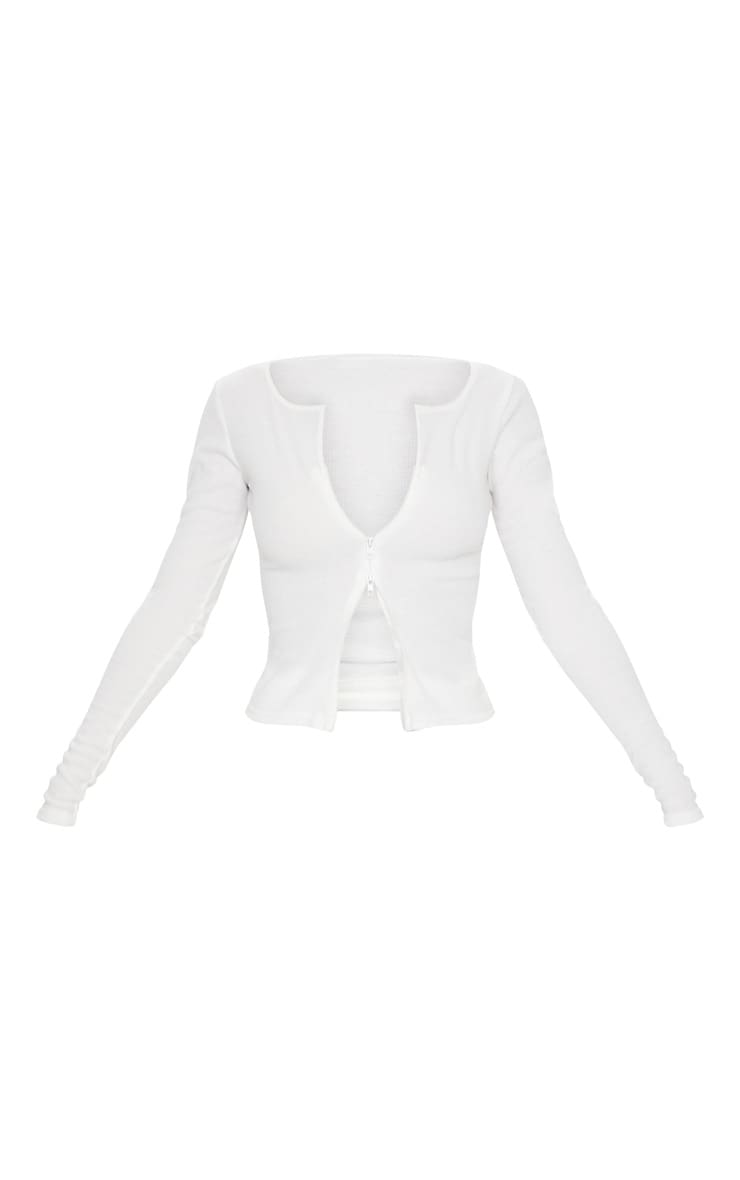 Cream Soft Brushed Rib Double Zip Front Top 6