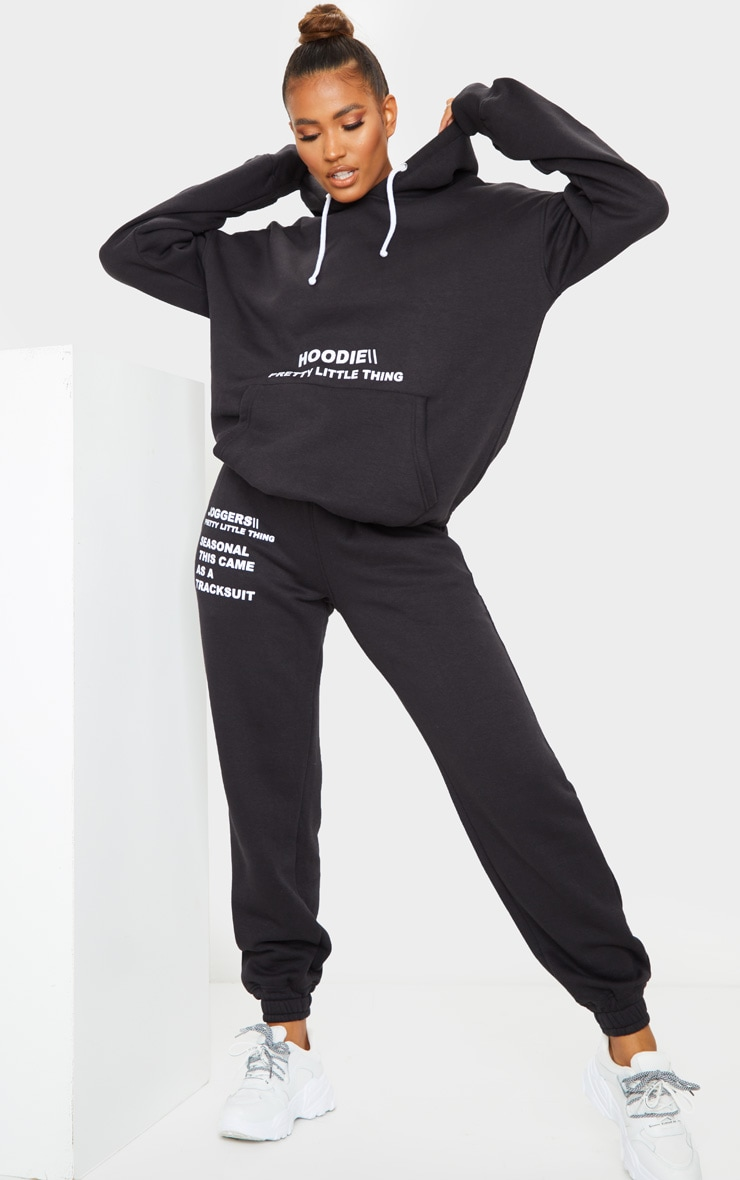 PRETTYLITTLETHING Black Oversized Slogan Print Pocket Front Hoodie 3