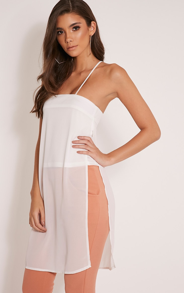 Runa Cream Sheer Longline Cami Top 1
