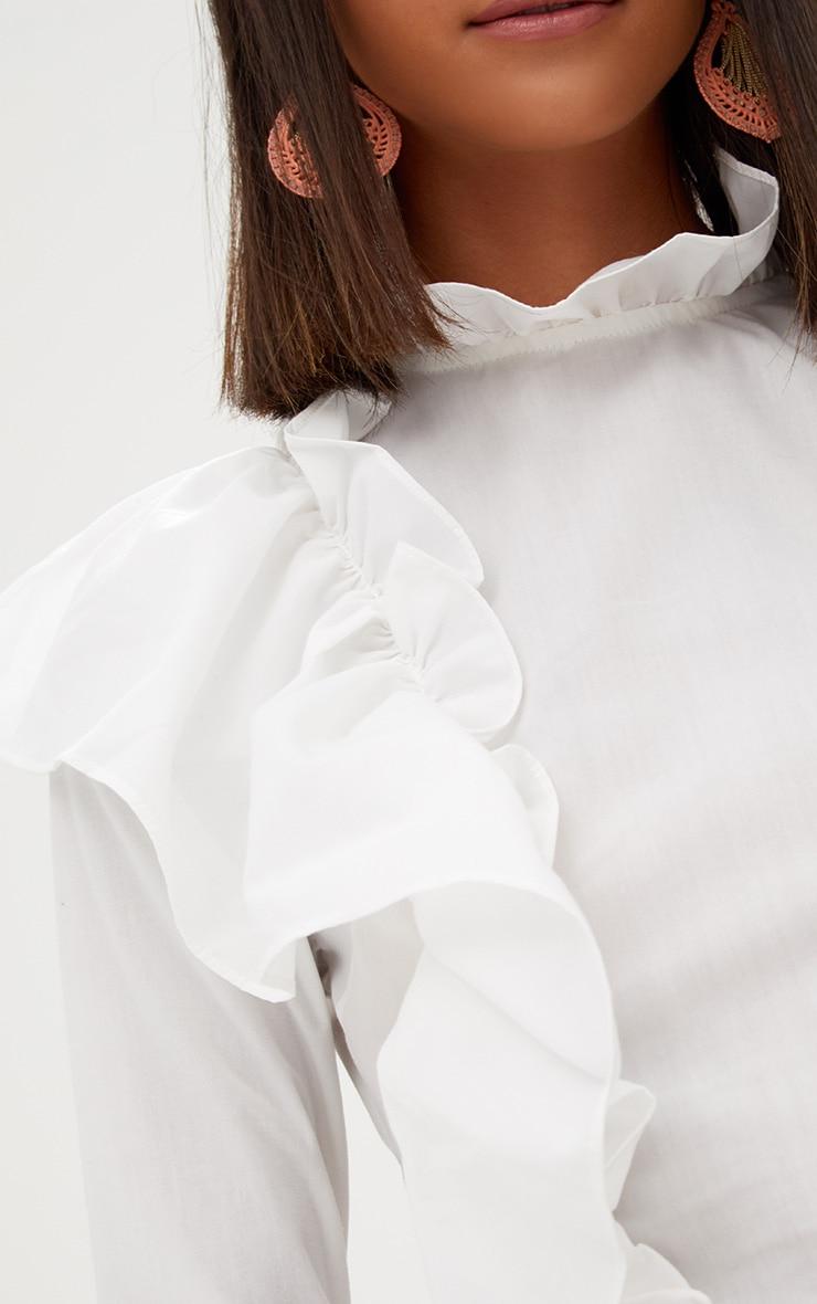 White Ruffle Frill High Neck Shirt 5