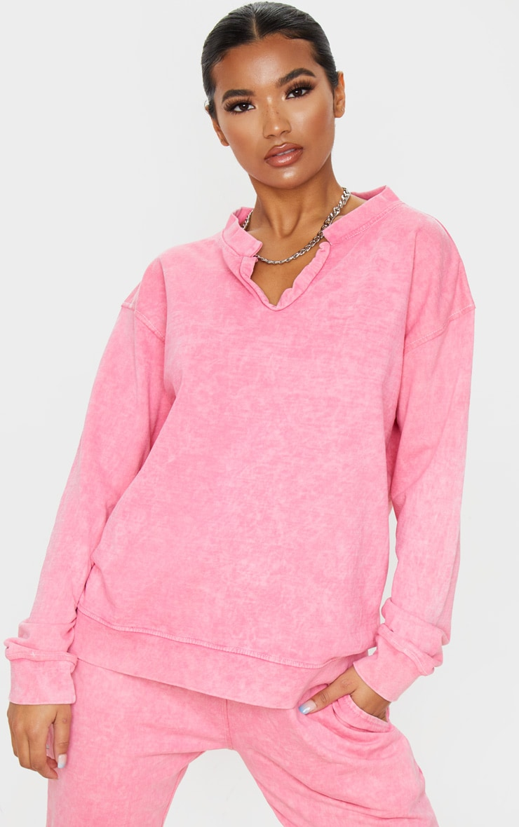 Light Pink V Neck Long Sleeve Washed Sweater 1