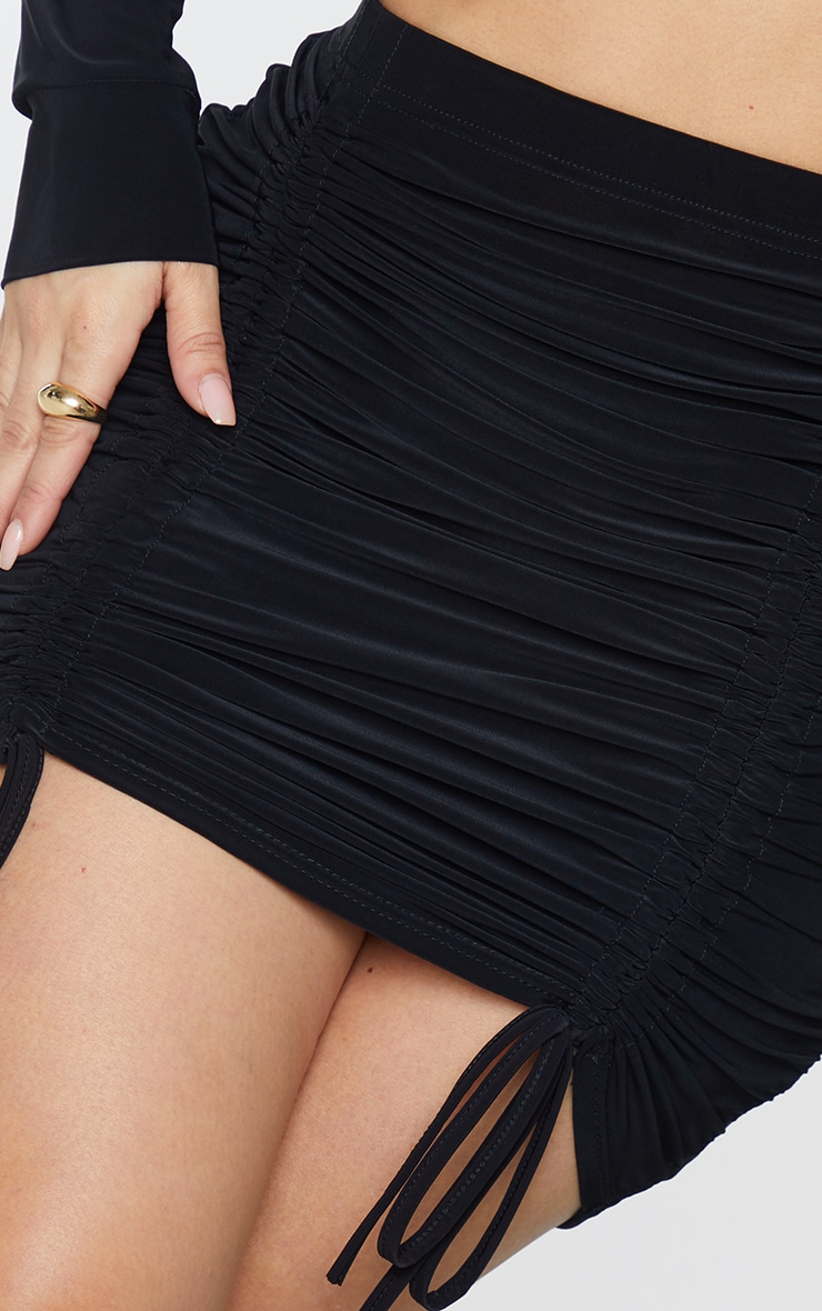 Shape Black Slinky Extreme Ruched Bodycon Skirt 5