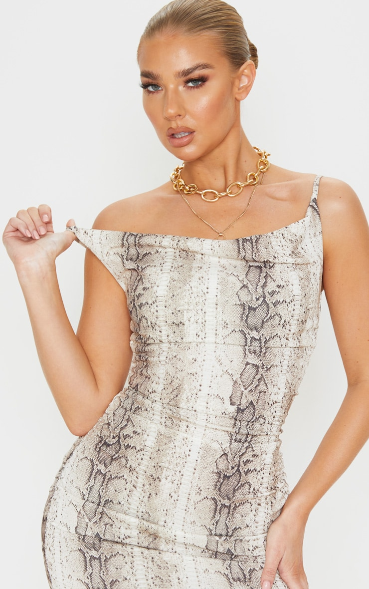 Nude Snake Print Strappy Ruched Bodycon Dress 5