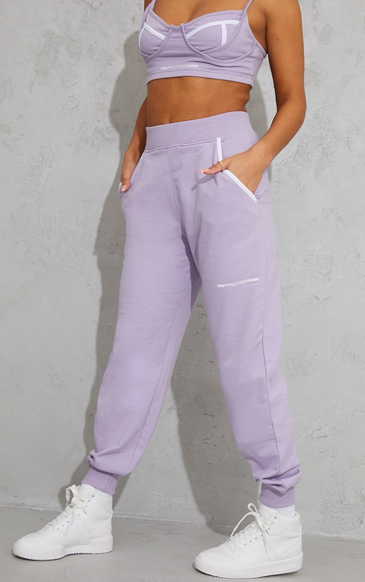 PRETTYLITTLETHING Lilac Printed Contrast Piping Joggers 2