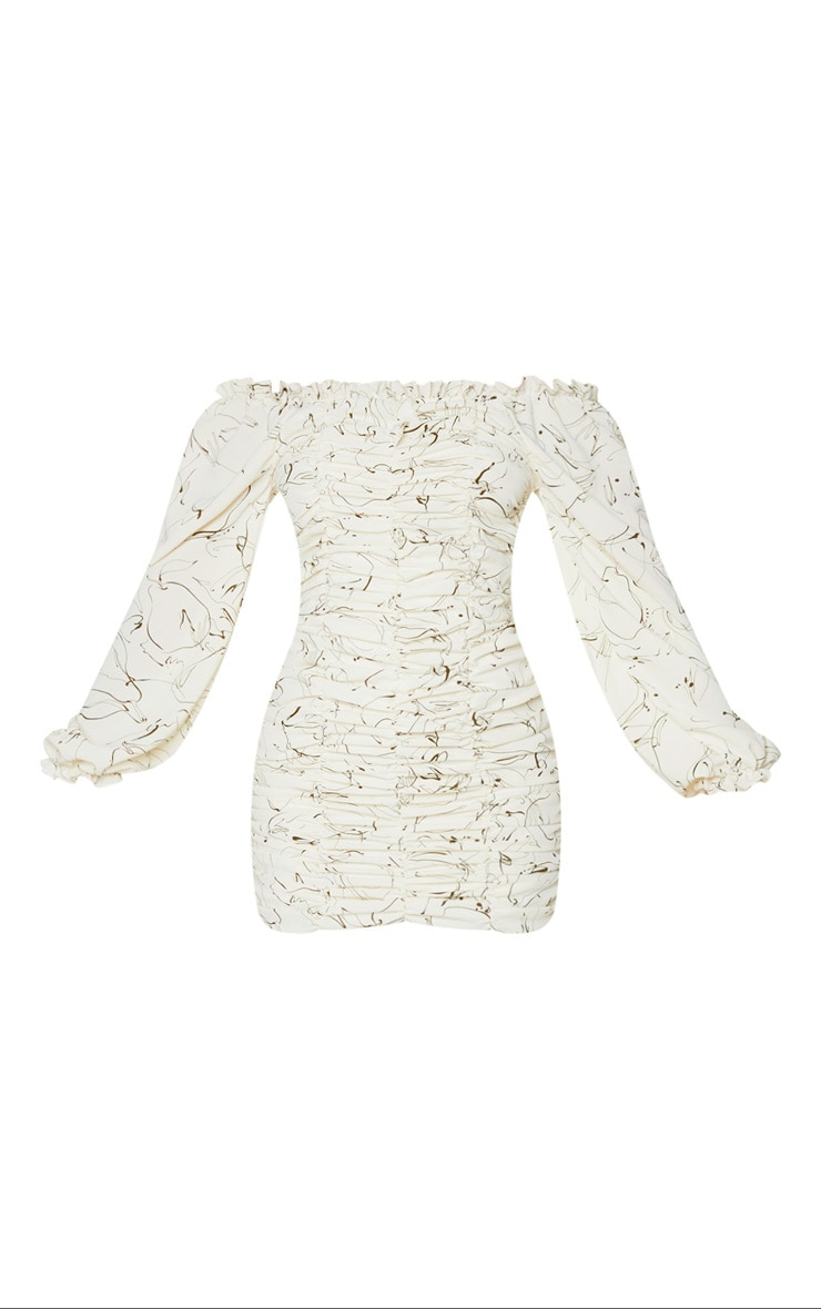 White Scribble Print Balloon Sleeve Bardot Ruched Bodycon Dress 5