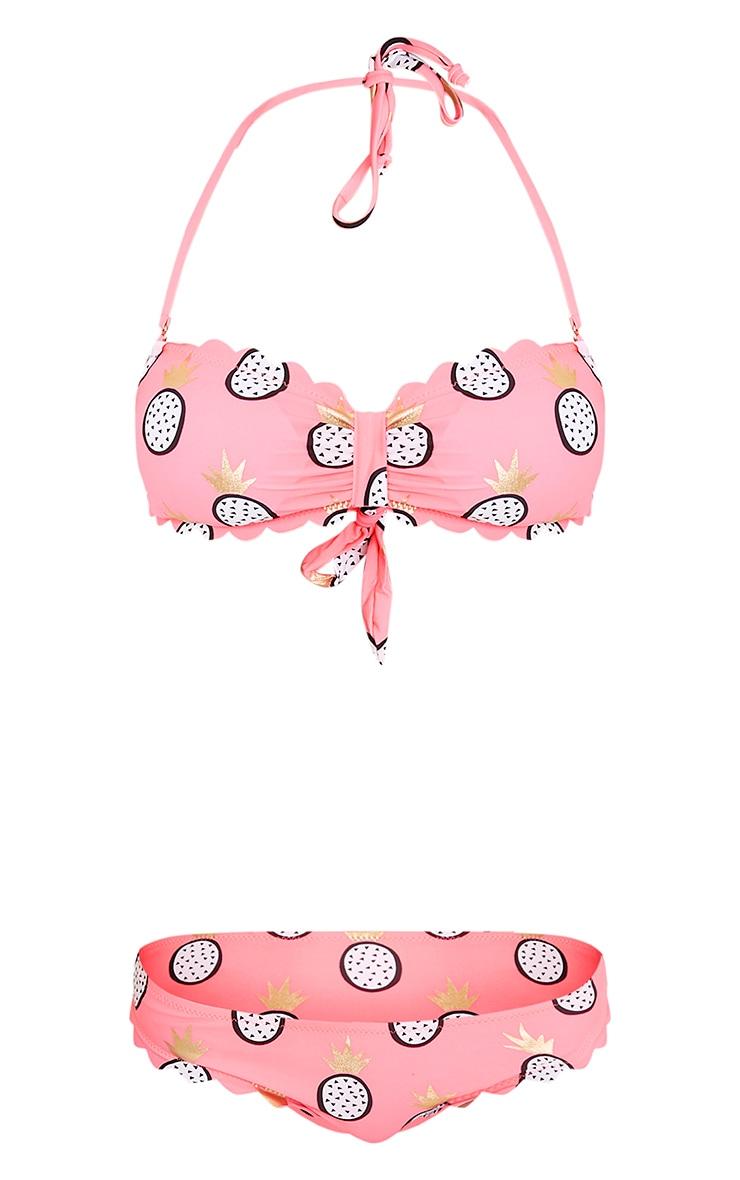 Lana Bright Pink Pineapple Print Bandeau Bikini Set 3