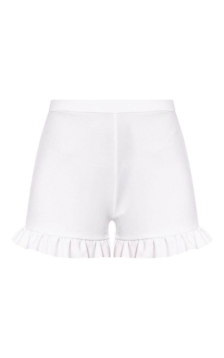 White Frill Hem Shorts  3