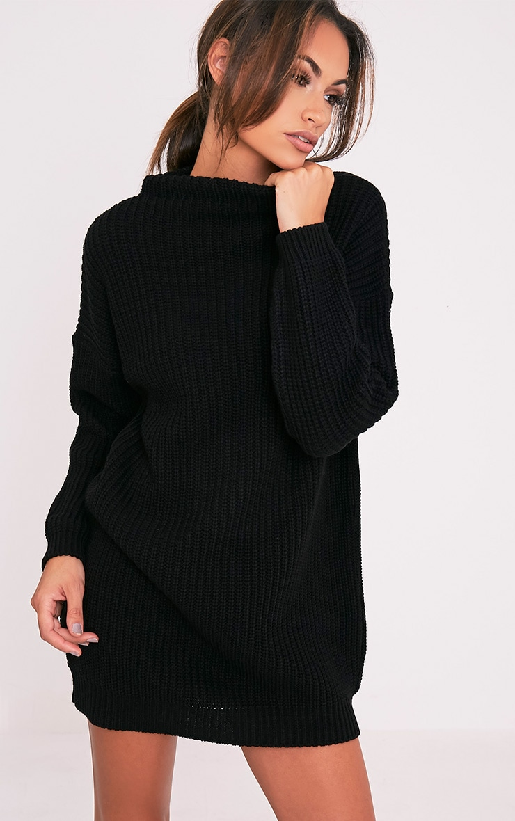 Black Oversized Knit Jumper Dress 1