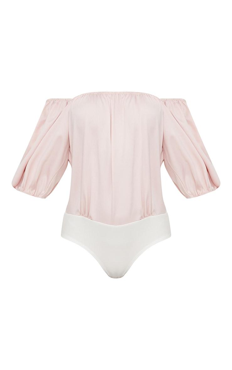Blush Satin Puff Sleeve Bardot Thong Bodysuit  3