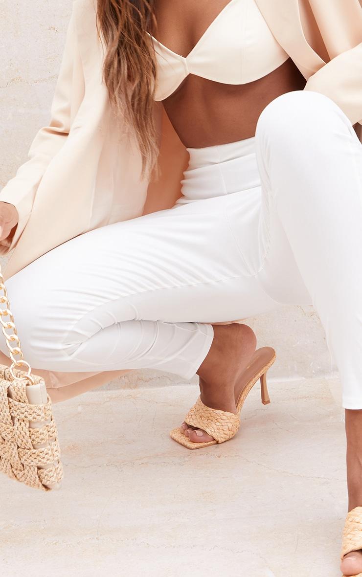 Cream Bengaline Pintuck Seam Leggings 4