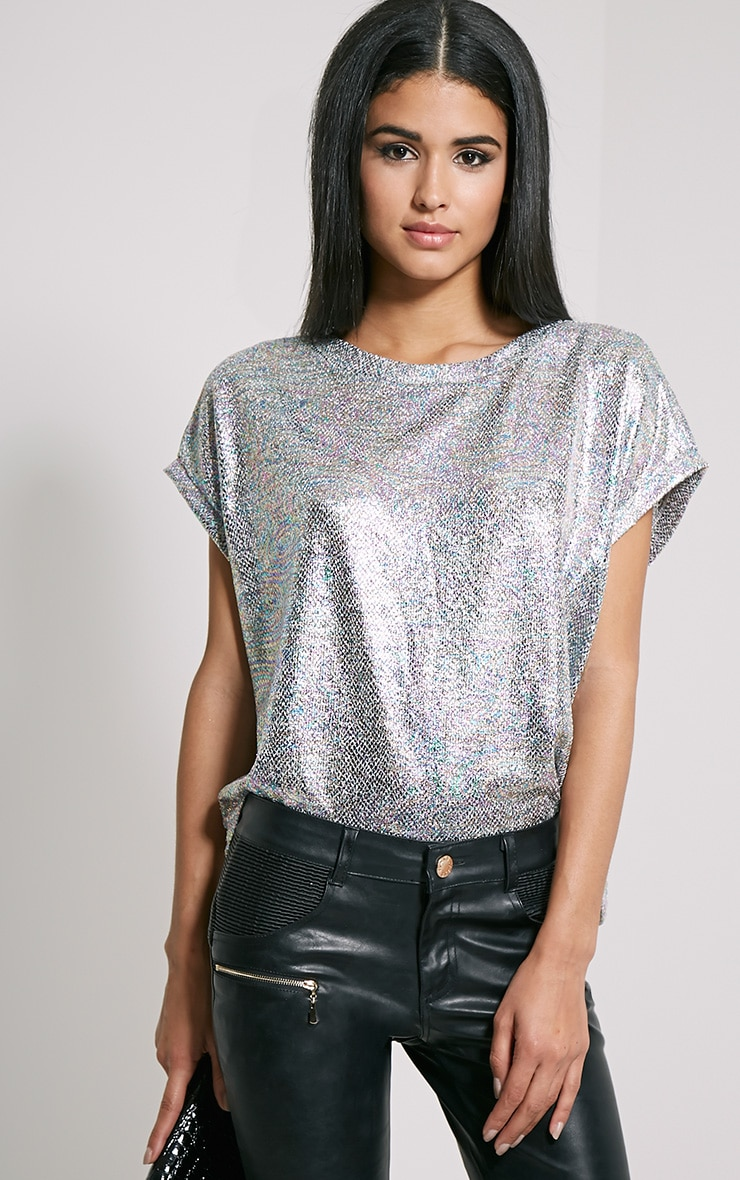 Sabina Metallic Hologram Print Oversized T-Shirt 1
