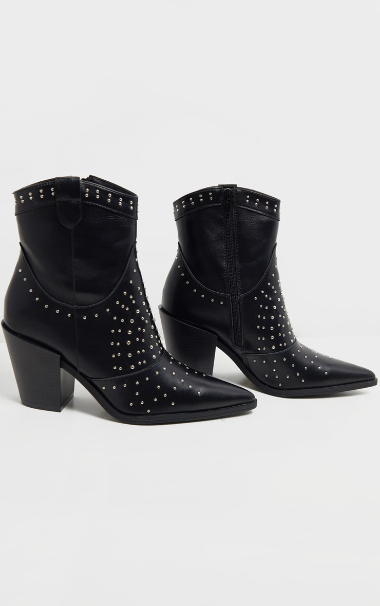 Black Point Toe Stud Detail Western Heel Ankle Boot 3