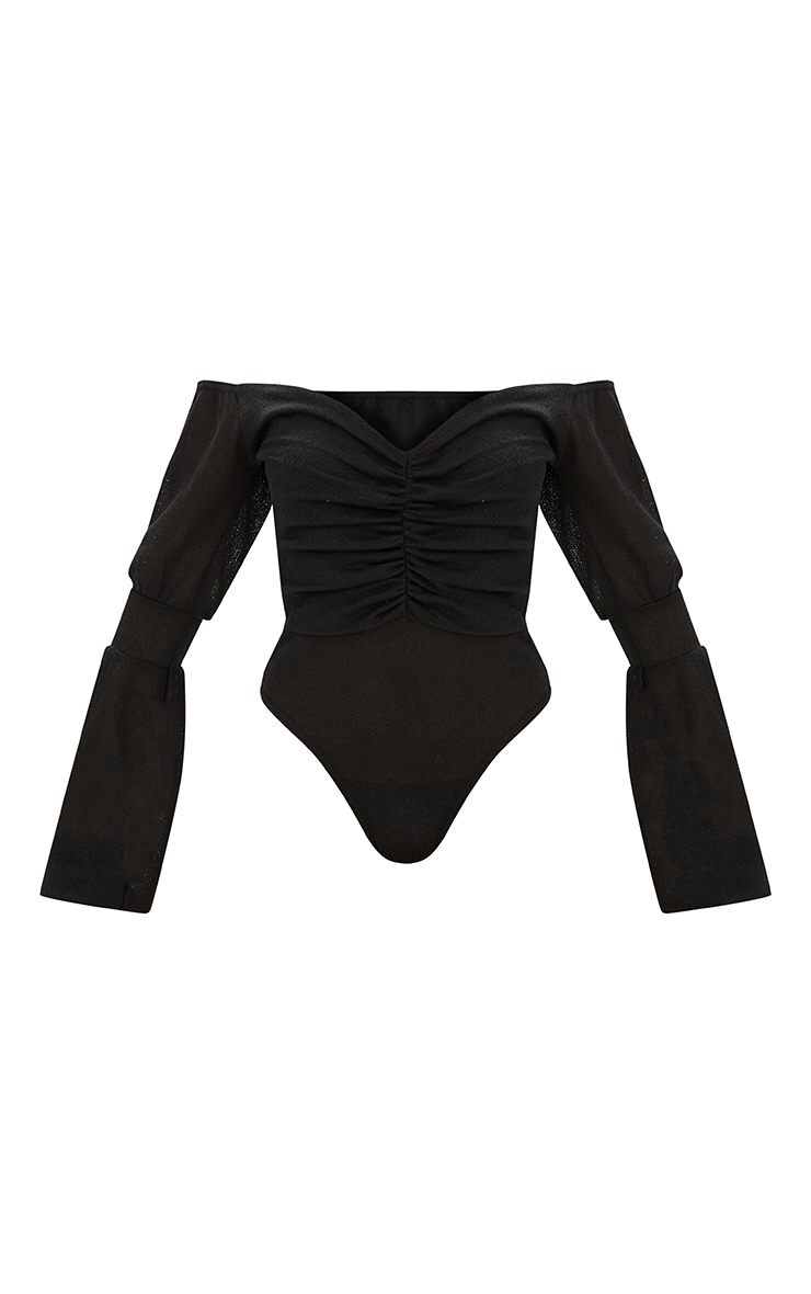 Black Bardot Ruched Balloon Sleeve Thong Bodysuit 3