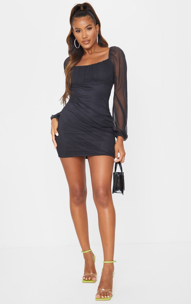 Black Mesh Ruched Bust Long Sleeve Bodycon Dress 3