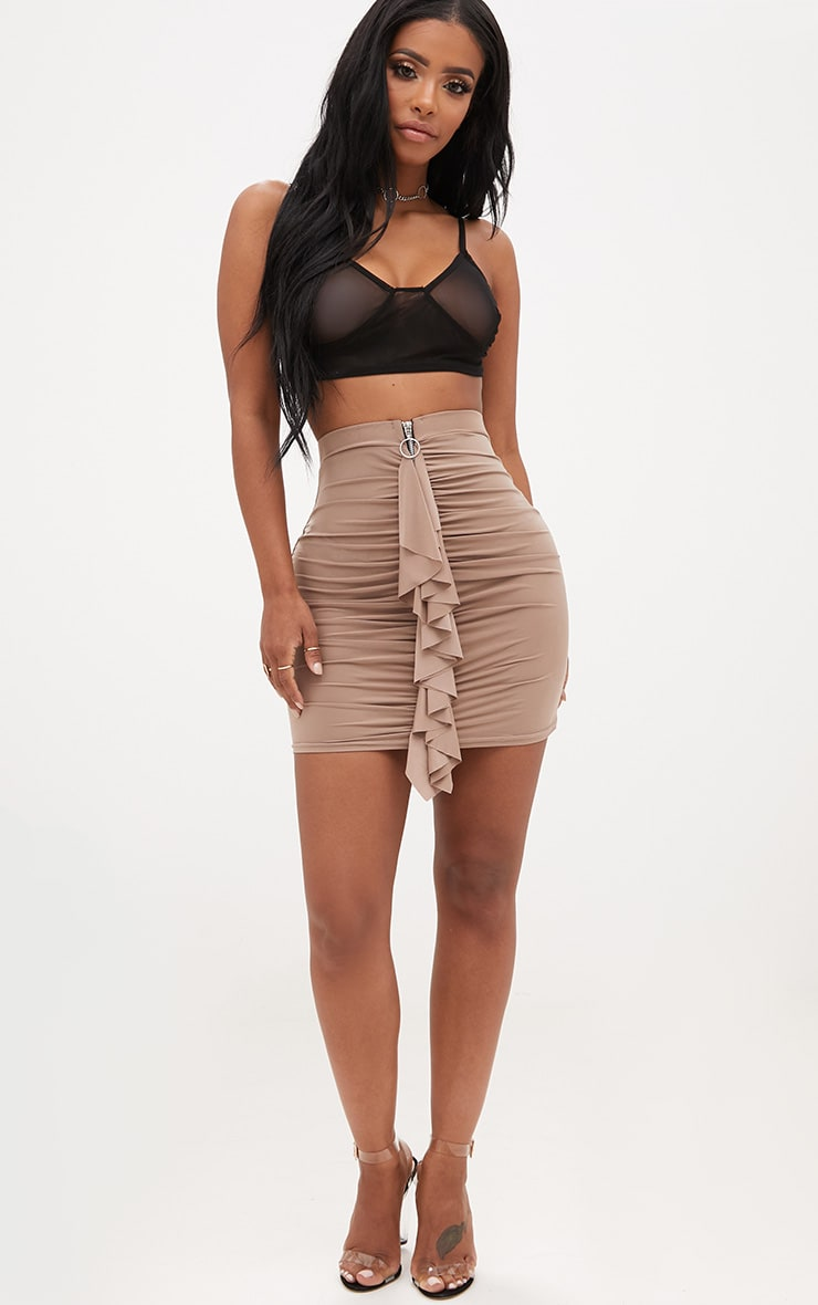 Shape Taupe Ruched Zip Front Mini Skirt  5