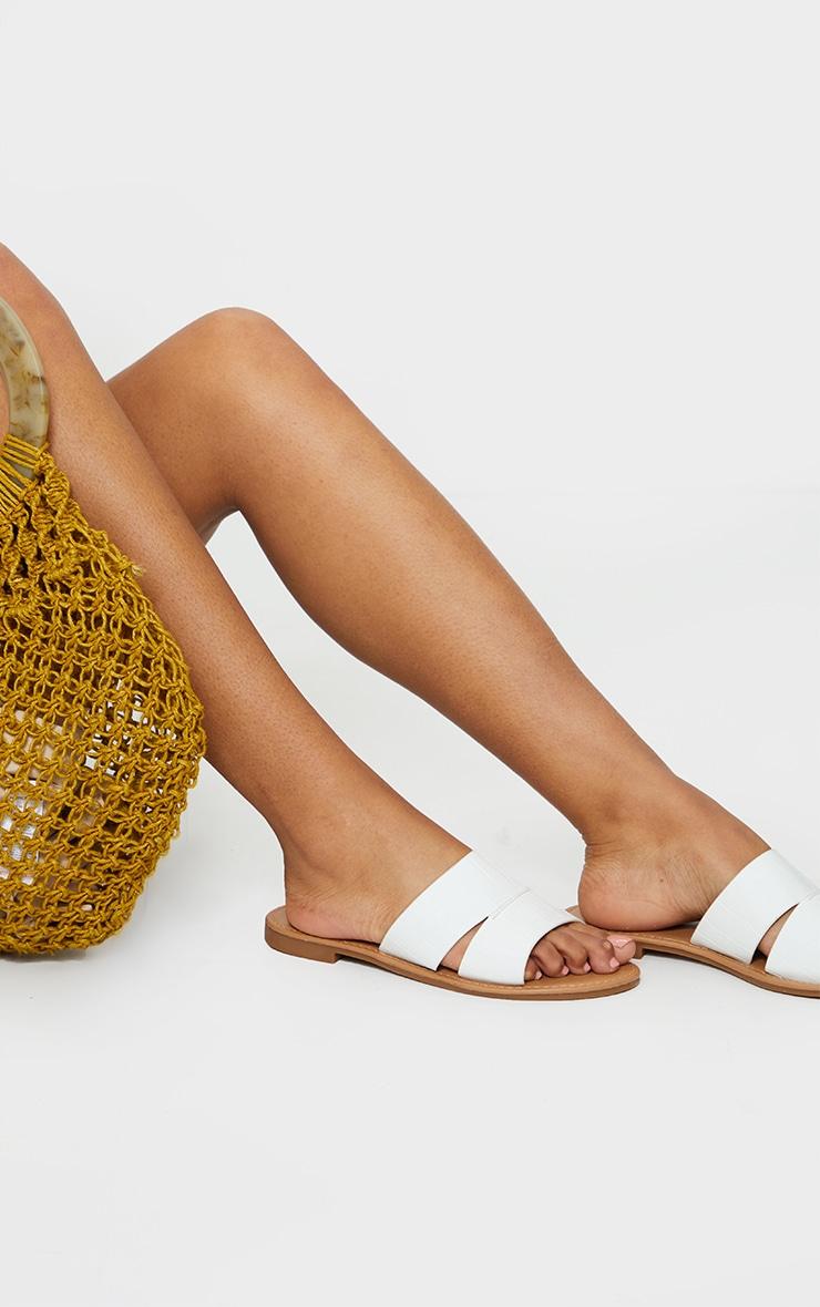 White Croc Double Strap Mule Flat Sandals 1