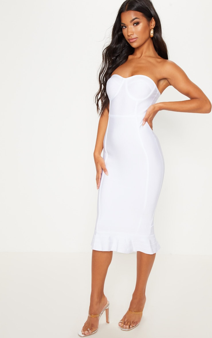 White Frill Hem Bandage Midi Dress