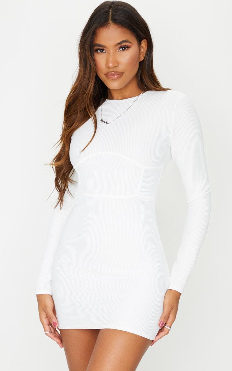 White Rib Binding Detail Long Sleeve Bodycon Dress 1