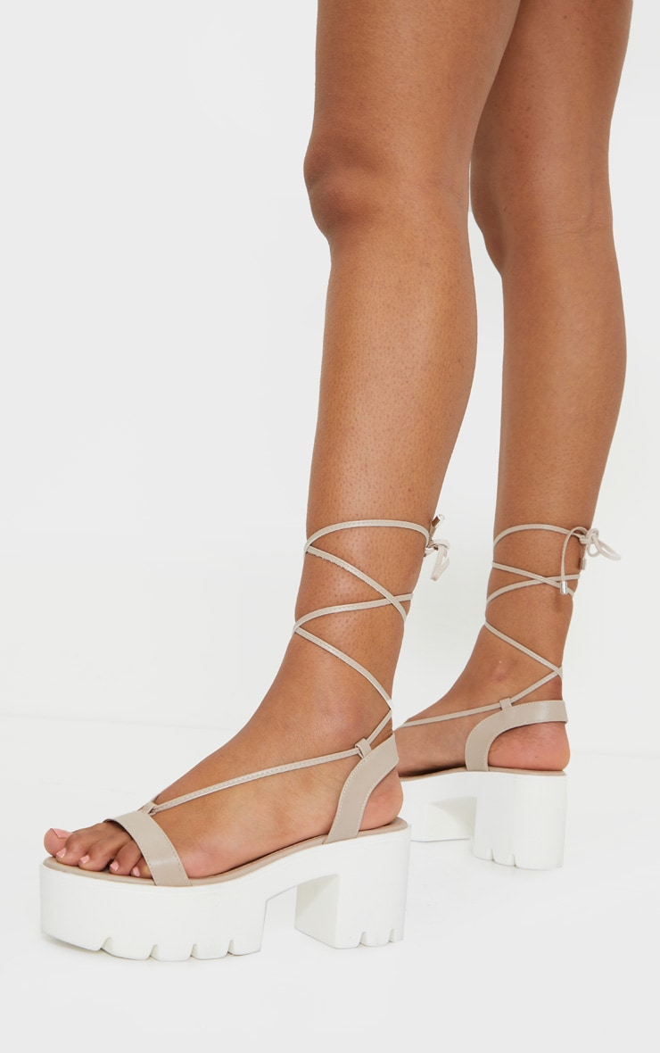 Nude Lace Up Chunky Sandals 2