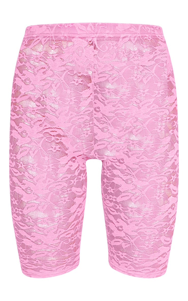 Neon Pink Lace Cycling Shorts 3