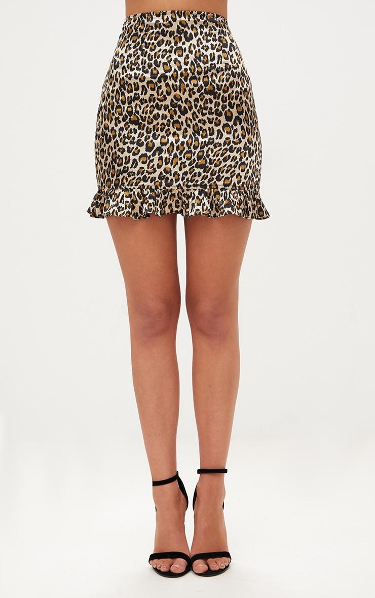 Brown Satin Leopard Print Frill Hem Mini Skirt 2
