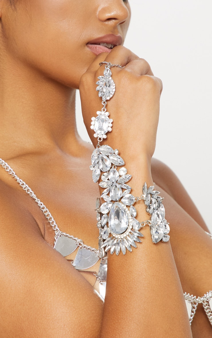 Silver Large Diamante Hand Chain 2