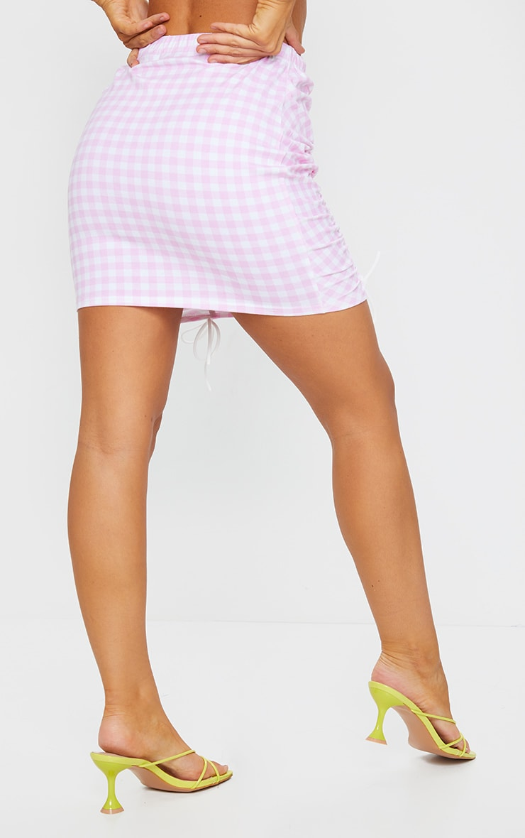 Pink Gingham Ruched Detail Mini Skirt 3