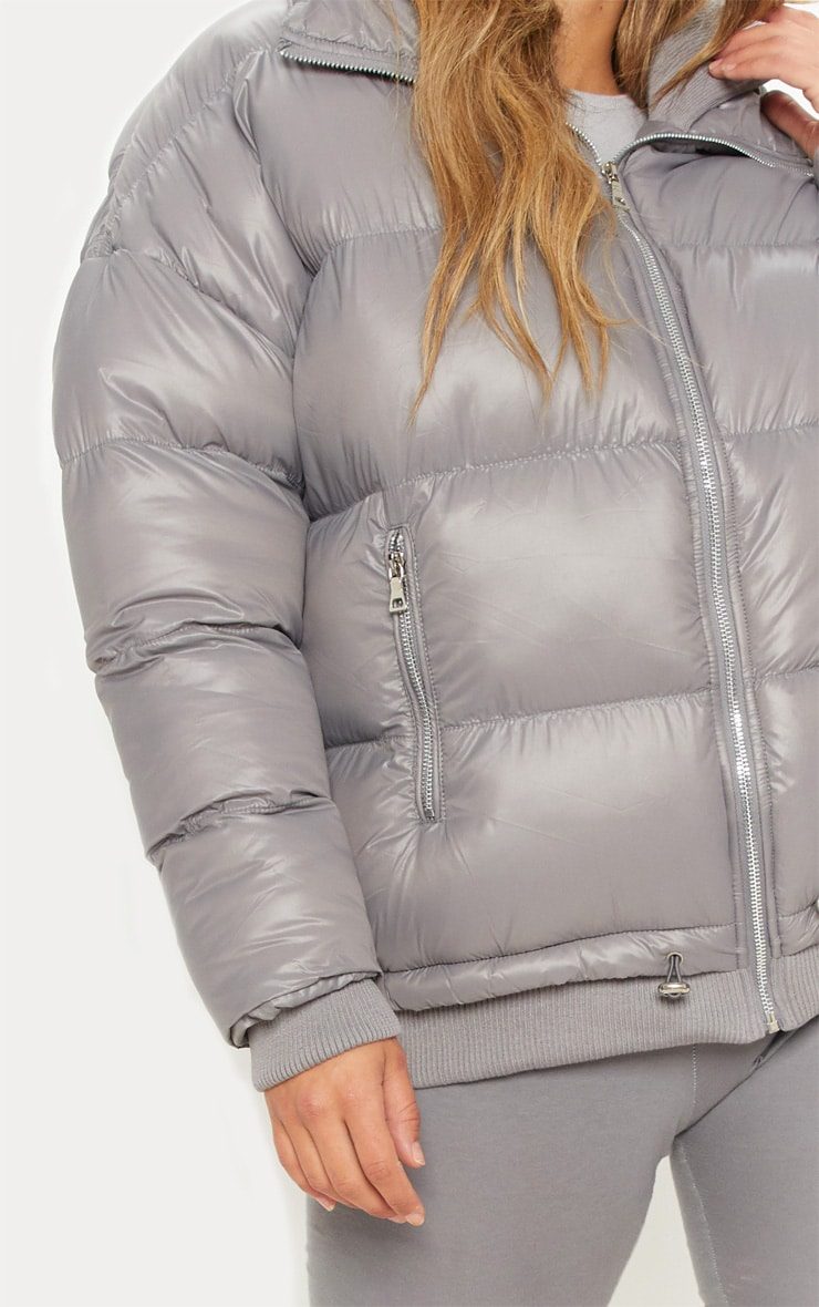 Taupe Oversized Puffer Jacket with Zip Pockets 5