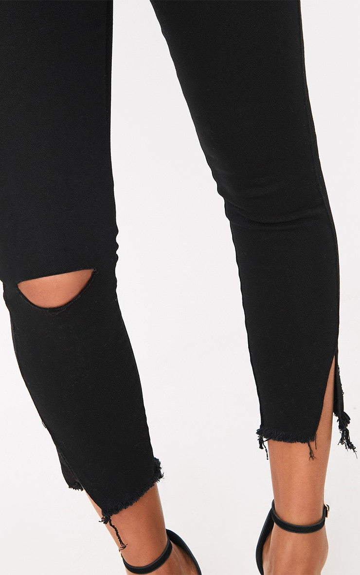 Black Split Hem Detail Skinny Jean 5