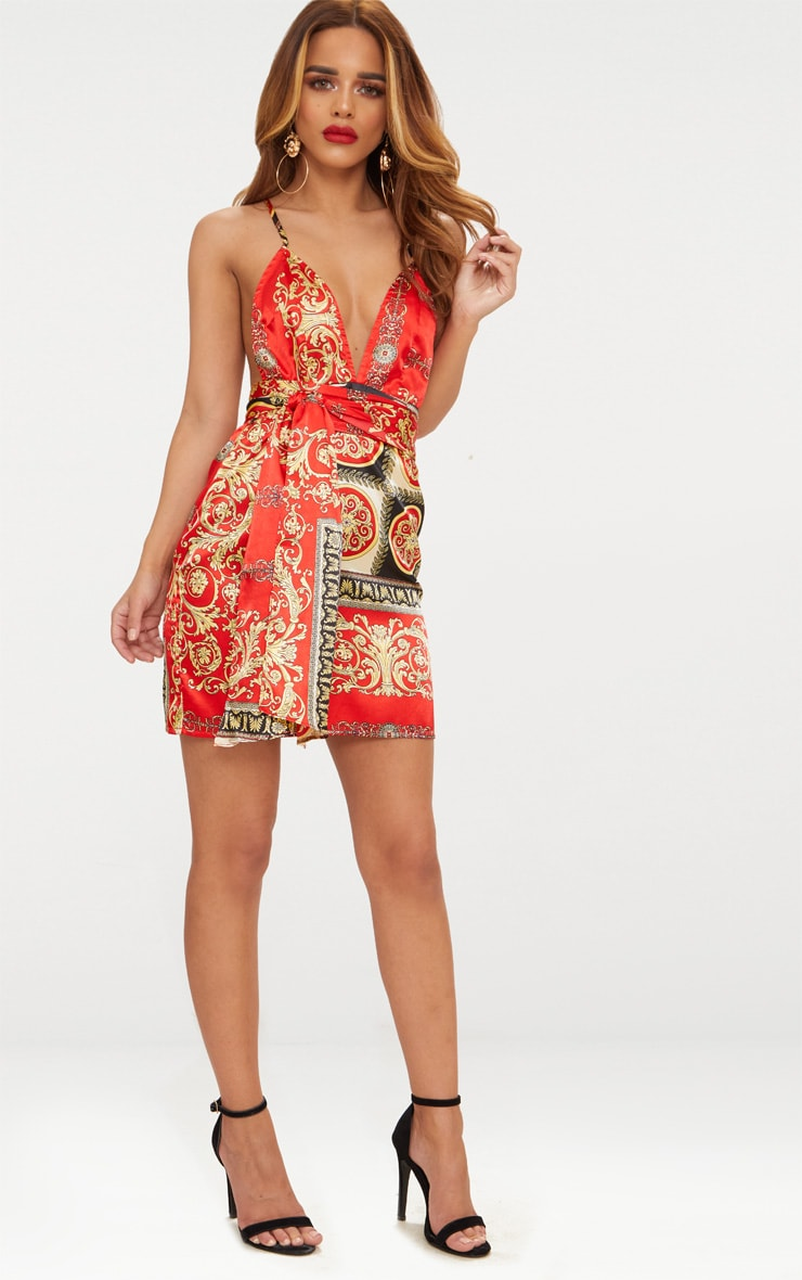Petite Red Satin Printed Wrap Belt Detail Bodycon Dress 4