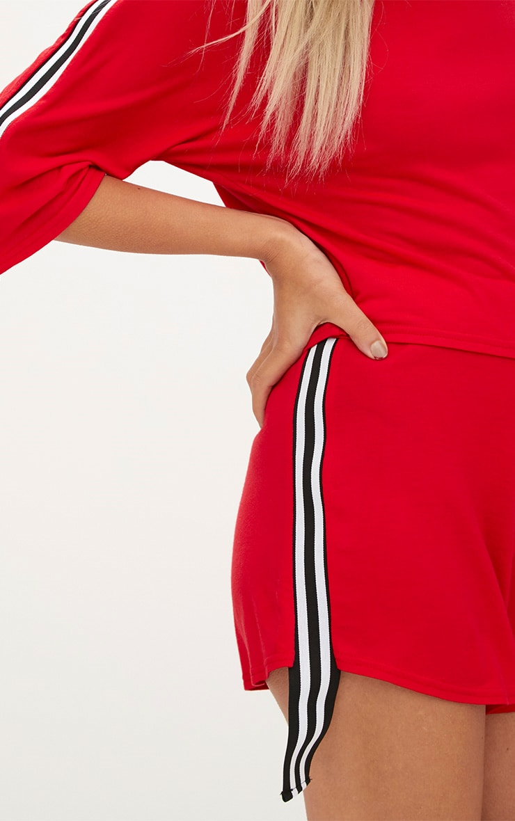 Red Stripe Tape Trim Jersey Shorts 6