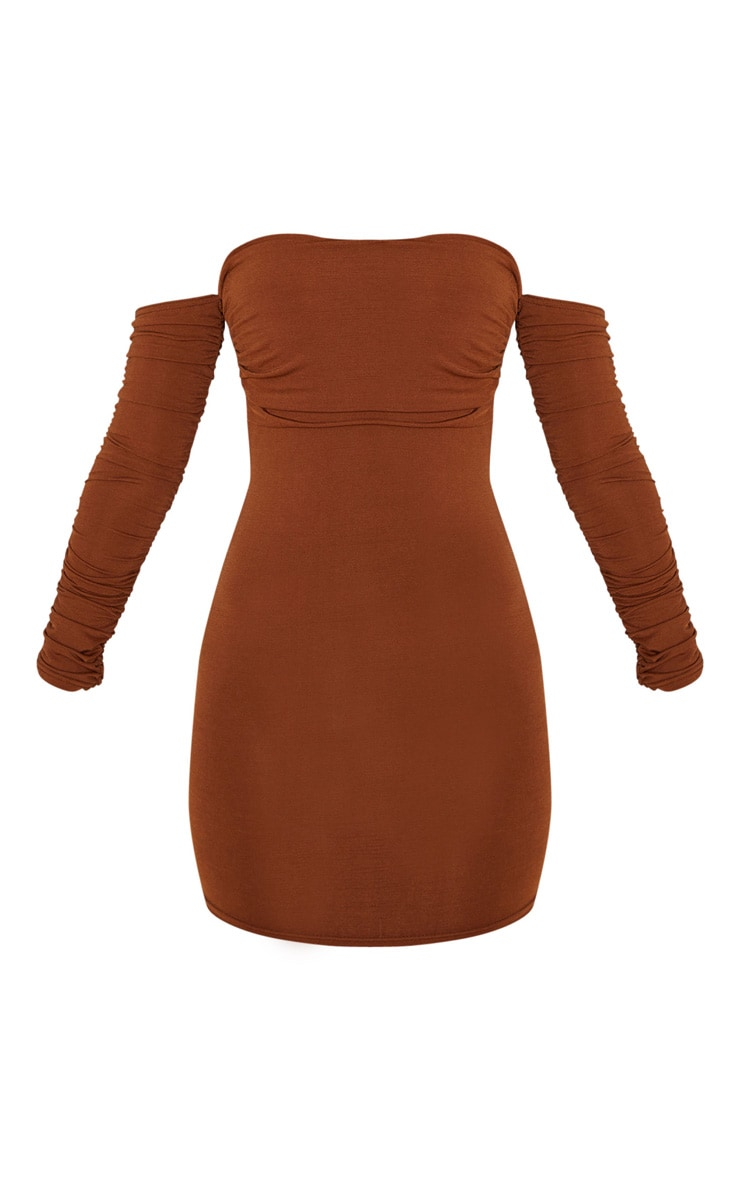 Chocolate Brown Slinky Ruched Bodice Bardot Sleeve Bodycon Dress 3