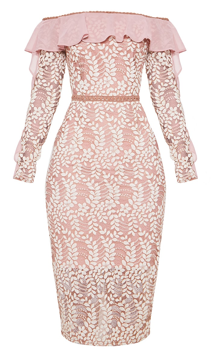 Dusty Pink Bardot Lace Frill Sleeve Midi Dress 3