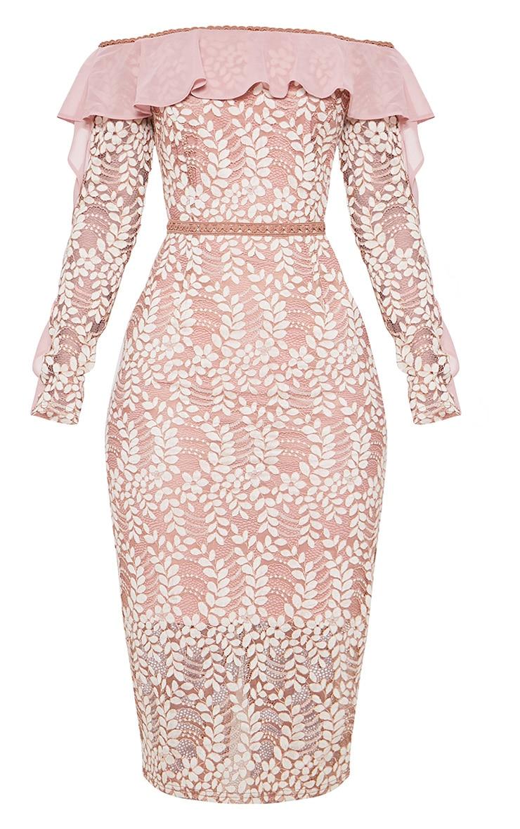 فستان متوسط الطول من الدانتيل بياقة باردو وأكمام طويلة مكشكشة بلون وردي مغبر 3