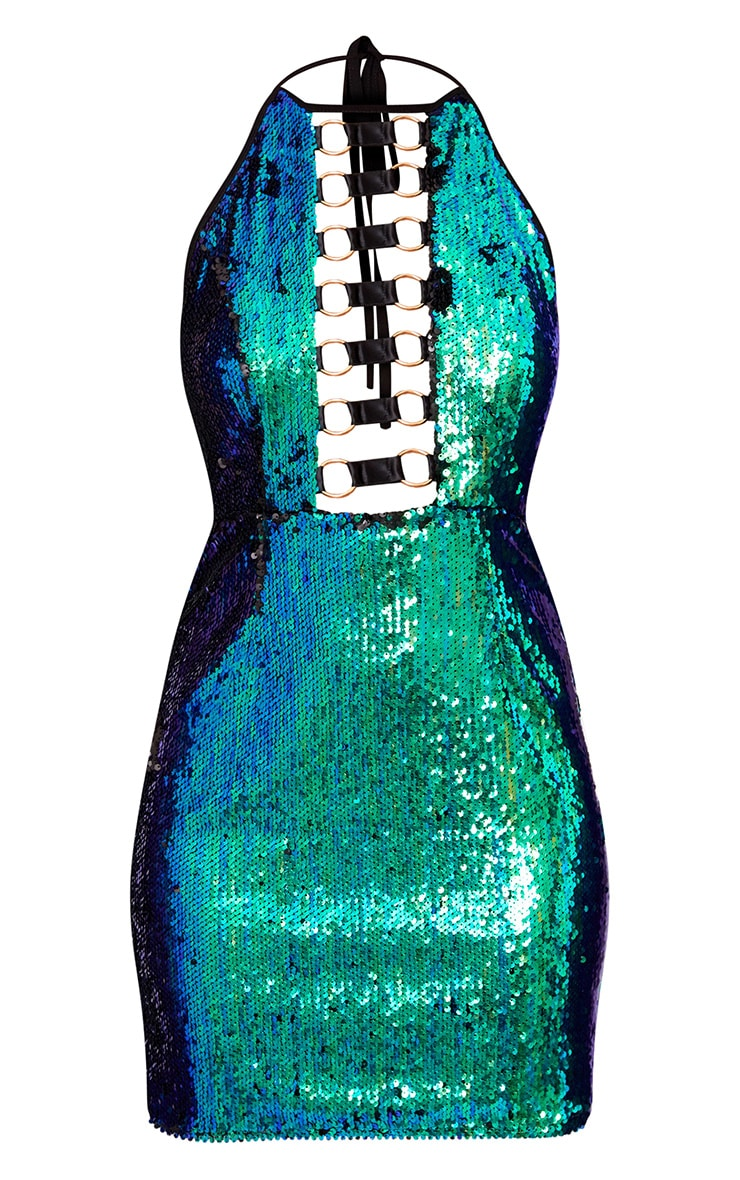Green Sequin Ring Detail Bodycon Dress 3