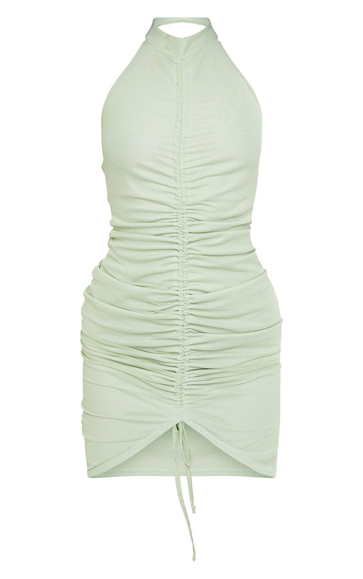Mint Mesh Halterneck Ruched Bodycon Dress 5