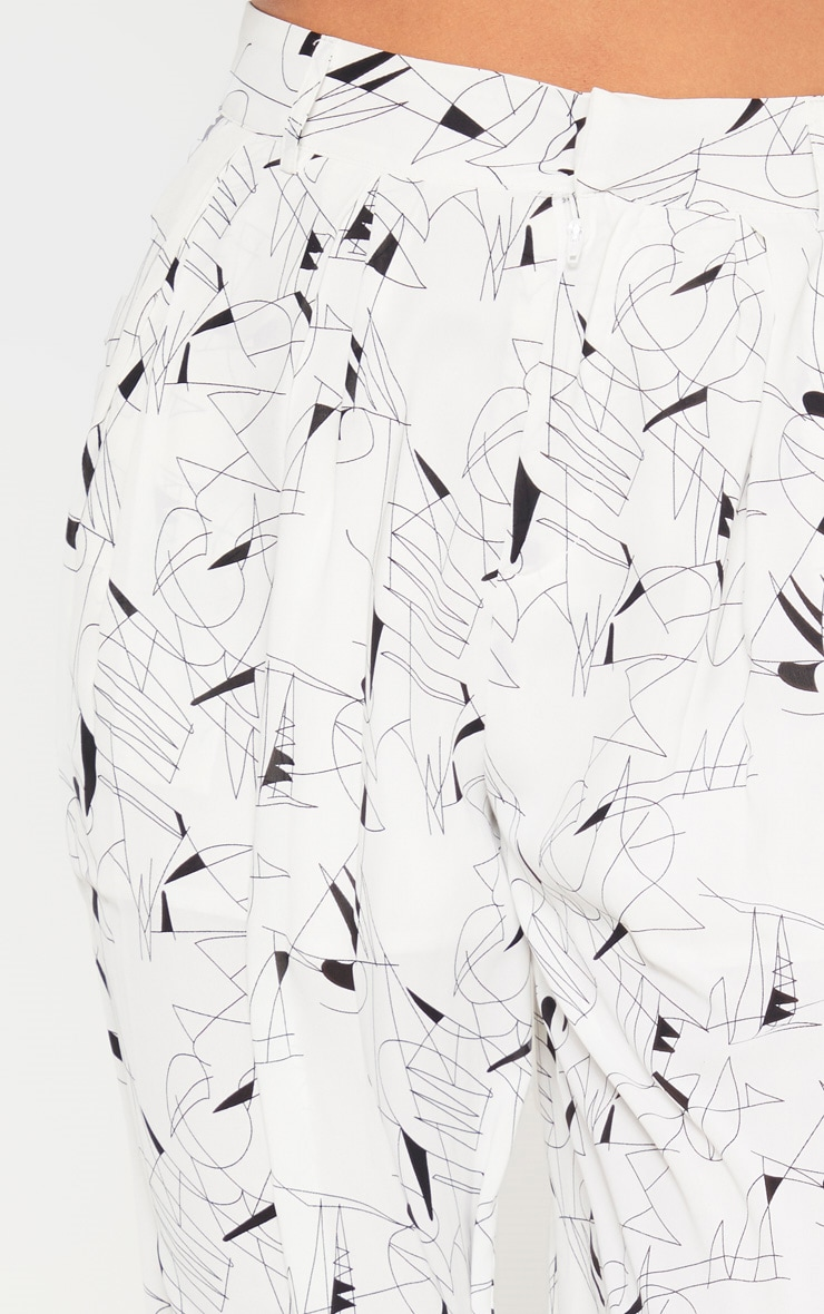 White Printed Woven High Waisted Cigarette Pants 5