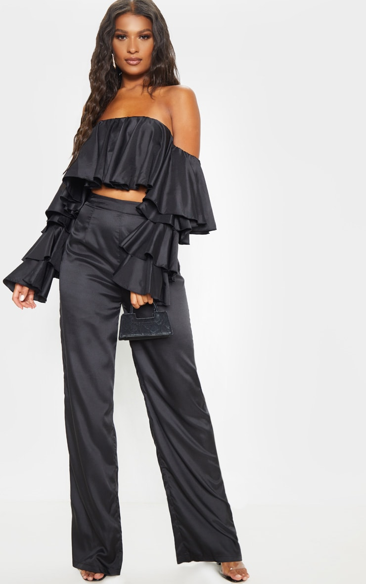Black Woven High Waisted Wide Leg Trouser 1