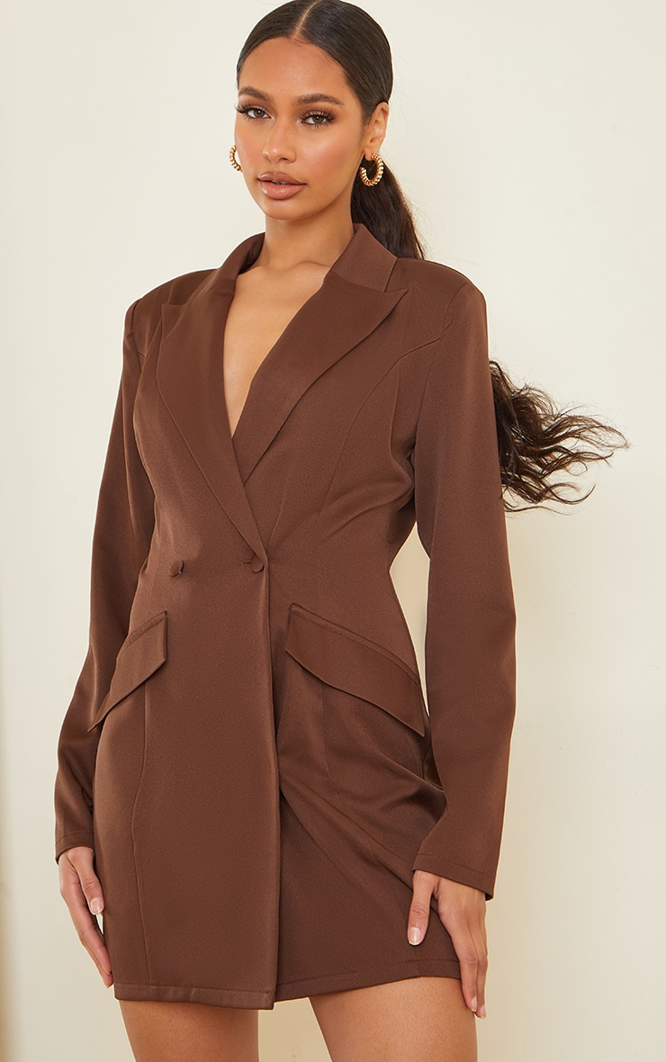 Chocolate Long Sleeve Pinched Waist Button Detail Blazer Dress 1