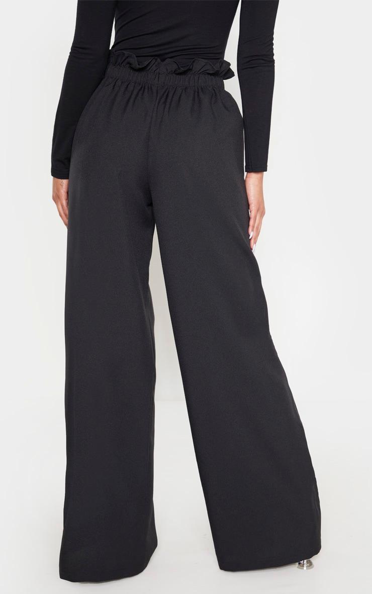 Black Woven Paperbag Waist Wide Leg Pants 2