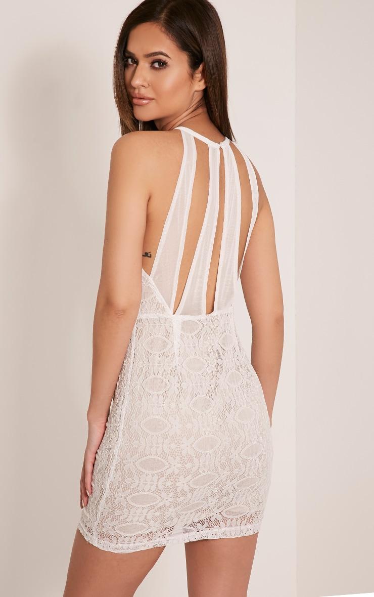 Leana White Keyhole Strappy Back Lace Dress 4