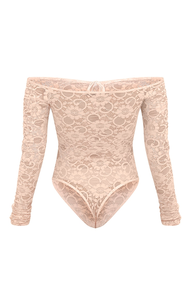 Petite Nude Lace Ruched Sleeve Bodysuit 4