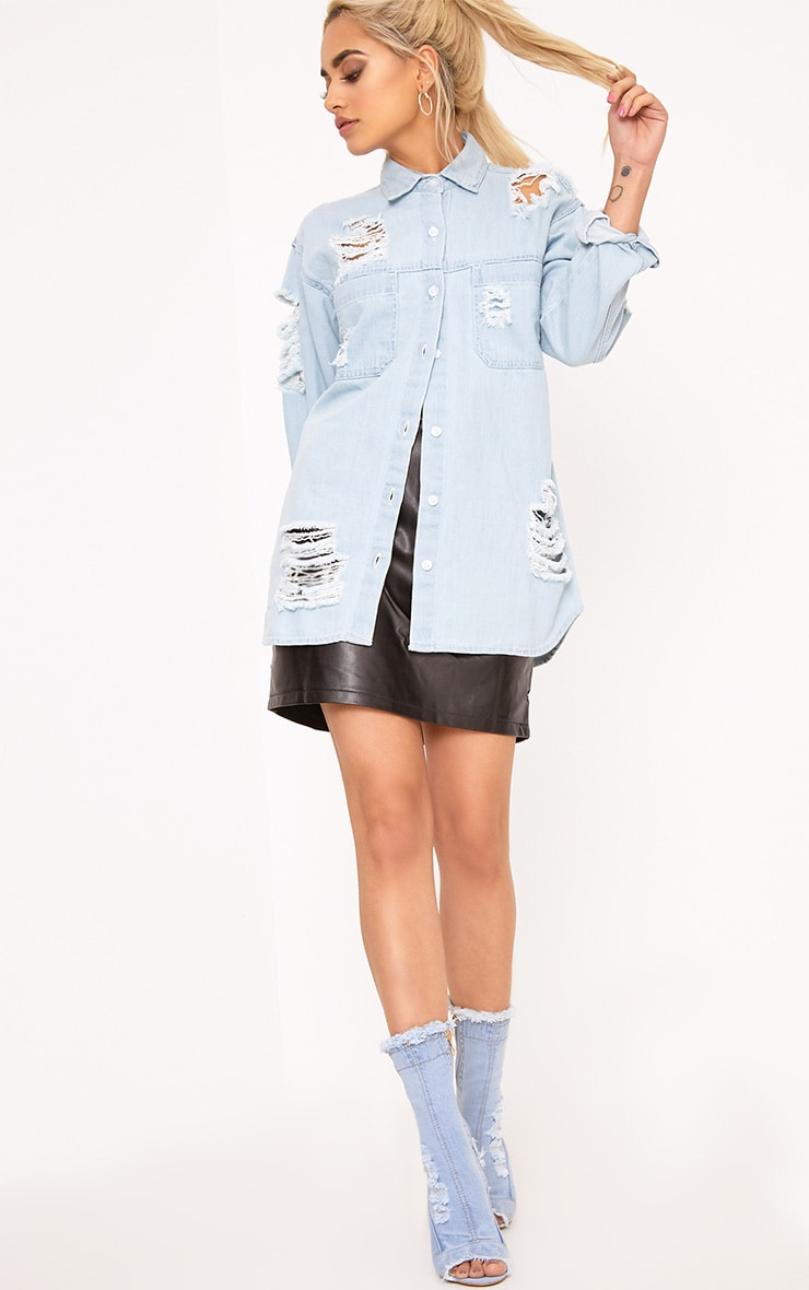 Ferne Super Light Wash Shred Denim Shirt 4