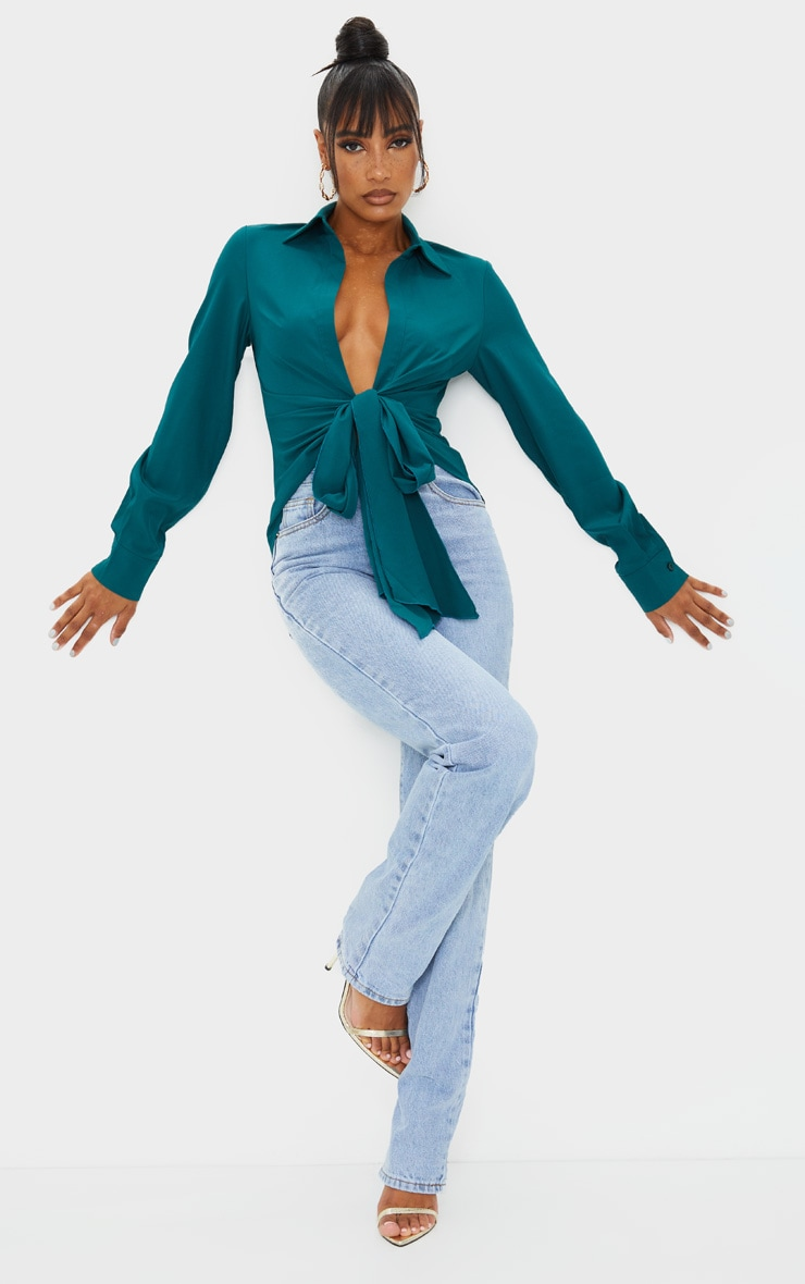 Teal Woven Tie Front Shirt 3