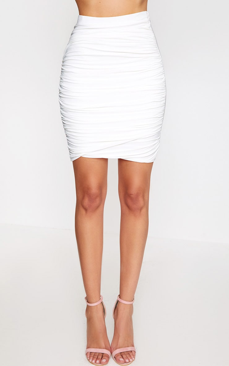 Cream Ruched Layered Slinky Mini Skirt 2