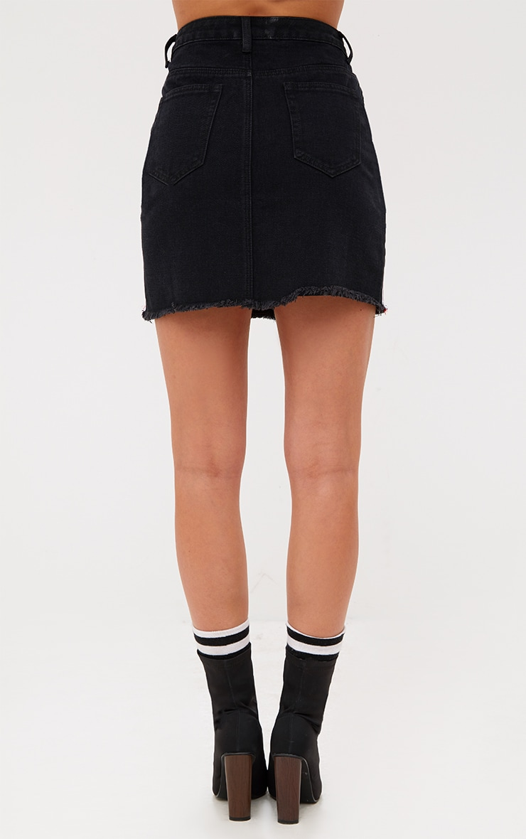 Black Sports Stripe Denim Skirt 4