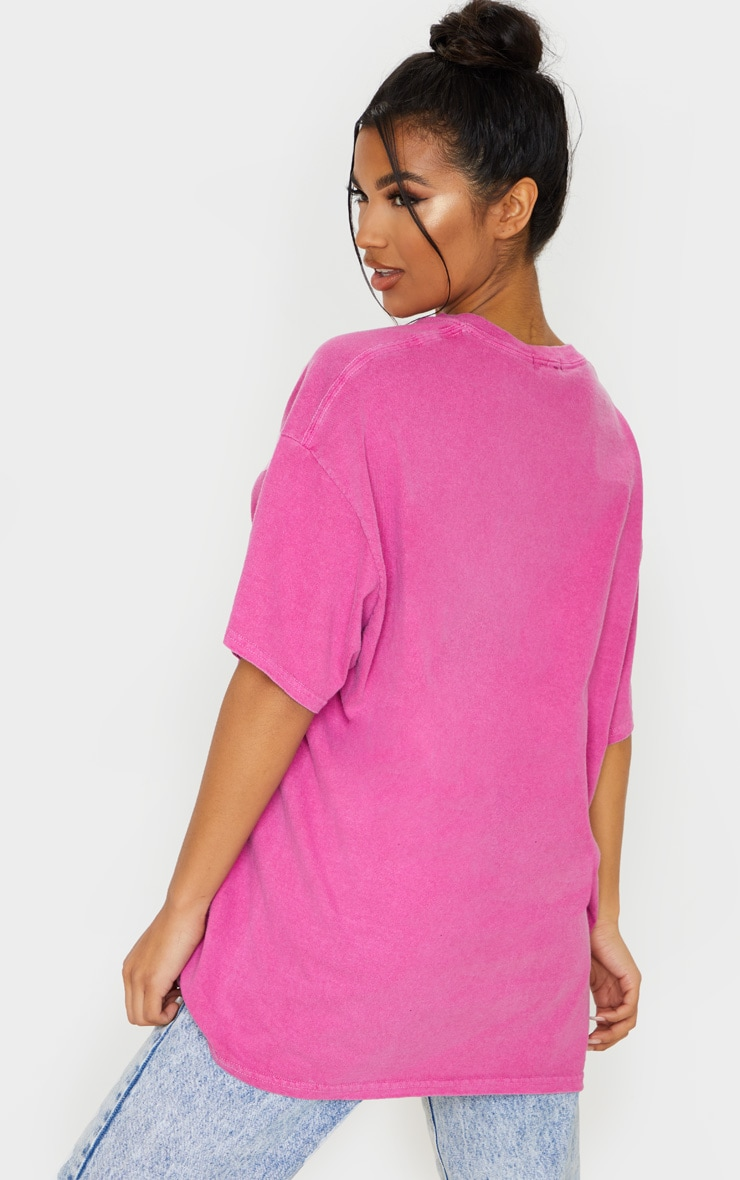 Pink Washed Oversized T Shirt 2