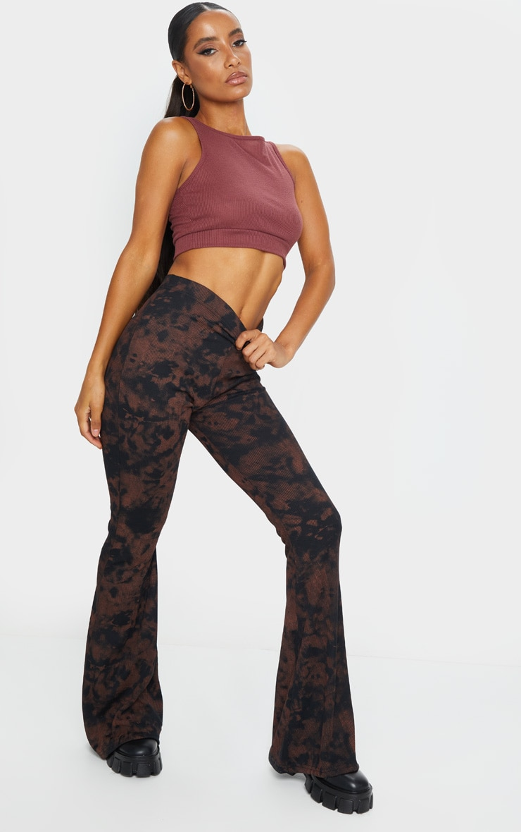 Rust Tie Dye Ribbed Flared Trousers 1