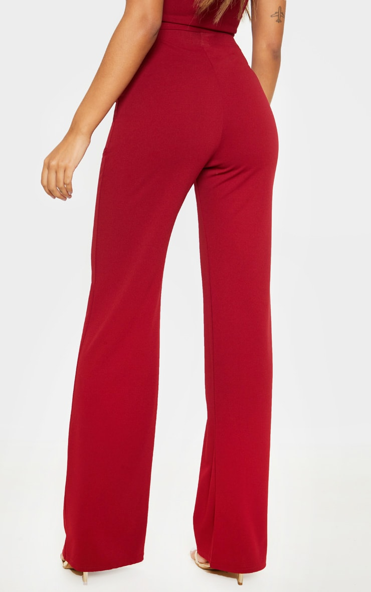 Scarlet Red Crepe High Waisted Wide Leg Pants 4
