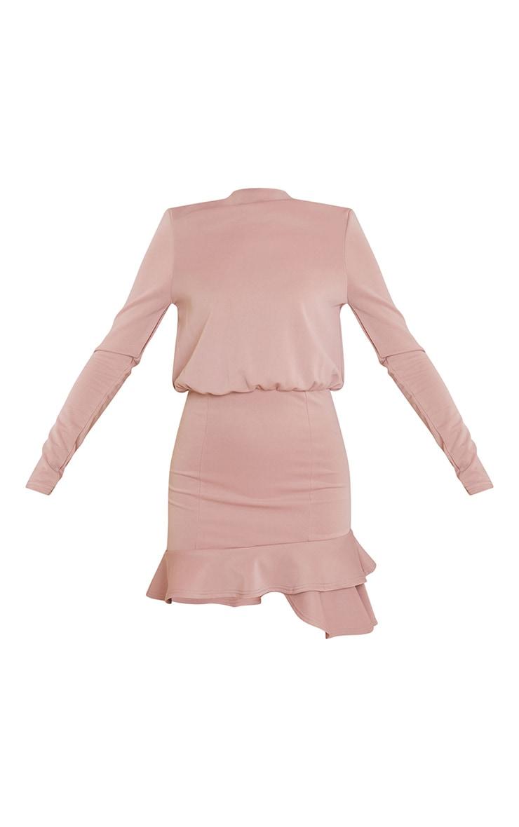 Dusty Pink Shoulder Pad Frill Hem Bodycon Dress 5